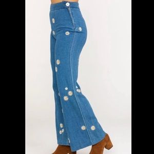 Free People Wide Leg 60's Daisy Embroidered Jeans